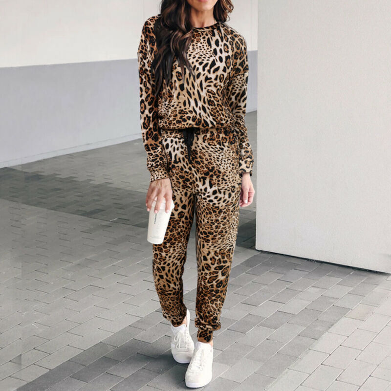2pcs/set Women Casual Leopard Printed Tracksuit Jogging Gym Sports Hoodies Sweatshirt Pants Suit