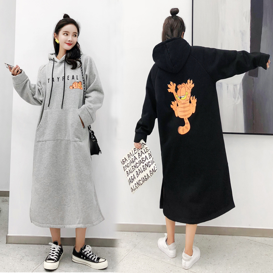 2019 Autumn Winter Women Sweatshirt Cartoon Printed Long Hooded Pullover Tops Loose Plus Size Harajuku Hoodies Womens Clothing