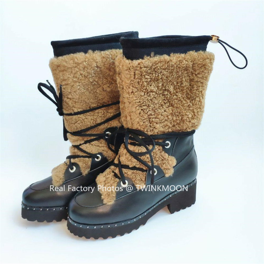 Bont Snowboots Vrouwen Winter Schoenen Flatform Lace Up Laarzen Pluche Chunky Lakleer Mid Calf Winter Laarzen Voor Vrouwen plus Size43 - 4