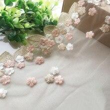 Ширина 18 см розовый цветок Золотые листья полые Цветочные Свадебные Вышивка качественная кружевная ткань вышитые кружева Diy ручной работы пэчворк