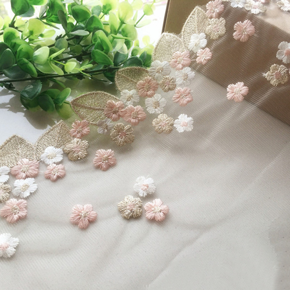 Width 18cm Pink Flower Gold Leaves Hollow Floral Wedding Embroidery Quality Lace Fabrics Embroidered Lace Diy Handmade Patchwork