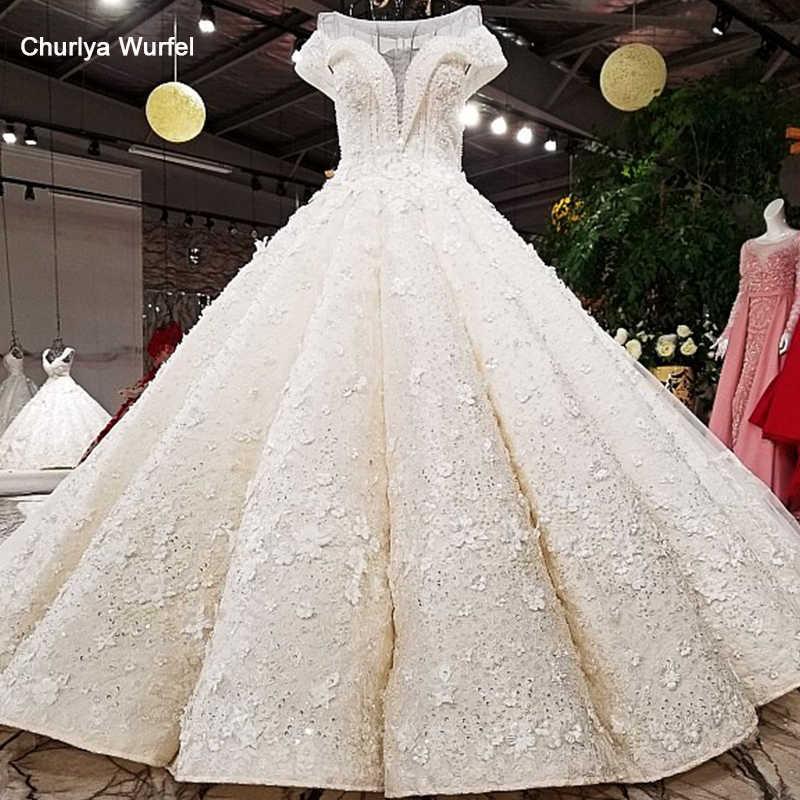 LS64130 vestido de noiva de vestido de bola de luxo o pescoço manga curta laço até tul vestido de noiva de noiva 2018 com trem longo como fotos