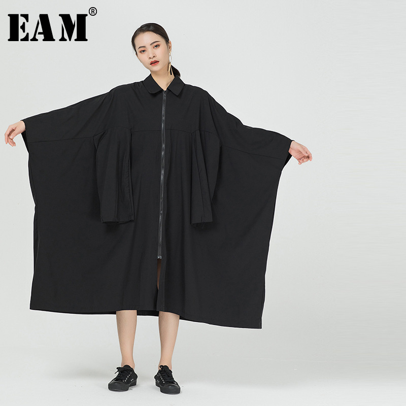 [EAM] Women Black Split Joint Big Size Trench New Lapel Long Sleeve Loose Fit Windbreaker Fashion Tide Spring 2020 1R846