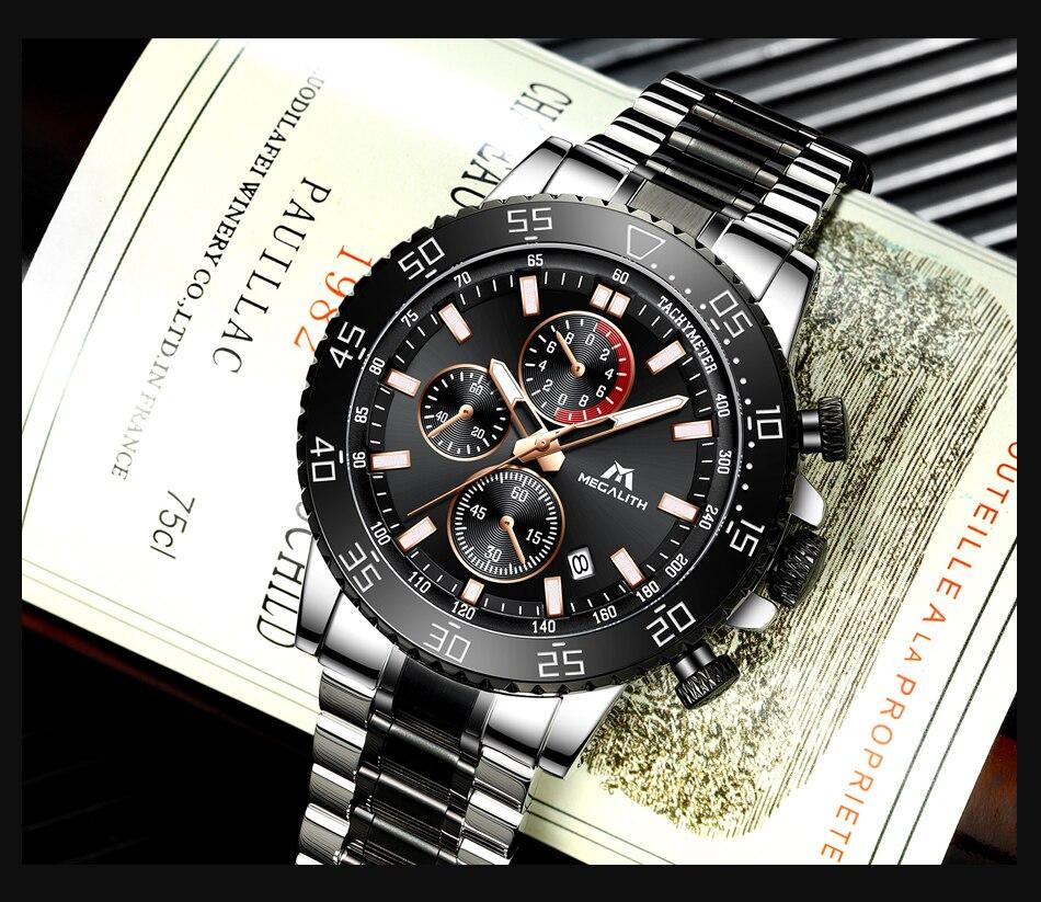 H9b5801320d34485794fadd607e78be2cM MEGALITH Watches Mens Waterproof Analogue Clock Fashion Stainless Steel Waterproof Luminous Watch Men Sports Relogio Masculino