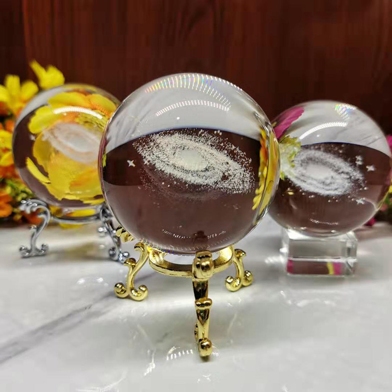 3D Laser Engraved Quartz Glass Ball 6CM Diameter Globe Galaxy Miniatures Crystal Ball  Sphere Home Decoration Accessories Gifts