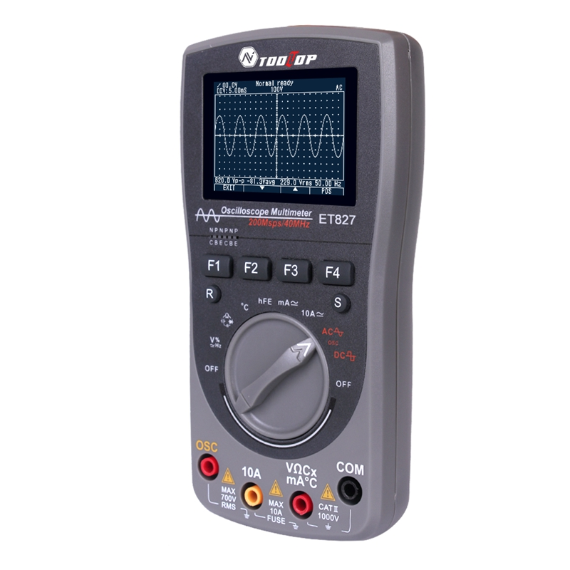 Intelligent 2in1 Digital 40MHz 200Msps/S Oscilloscope Multi-meter 6000Counts True RMS AUTO Multimeter Analog Grap Waveform Tools