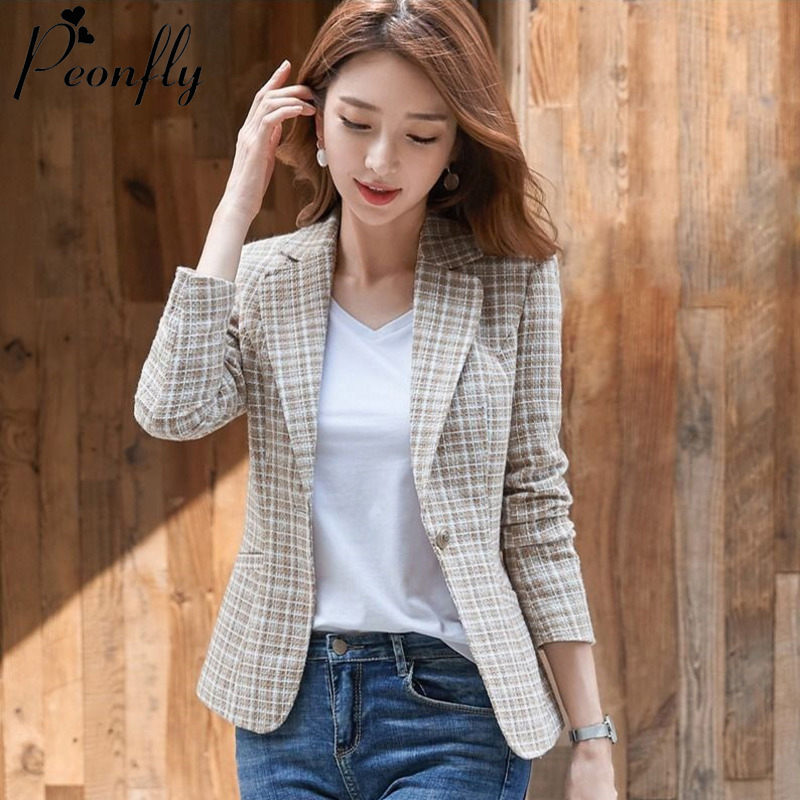PEONFLY Women Elegant Plaid Blazer Long Sleeve Single Button Slim Checked Coat Formal Office Work Jacket Outerwear Pink Blue