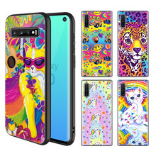 Lisa Frank Art Case Voor Samsung Galaxy S10 5G S10e S9 S8 Plus S7 Note 10 9 8 + a50 Zwart Siliconen Telefoon Cover Coque Cas(China)