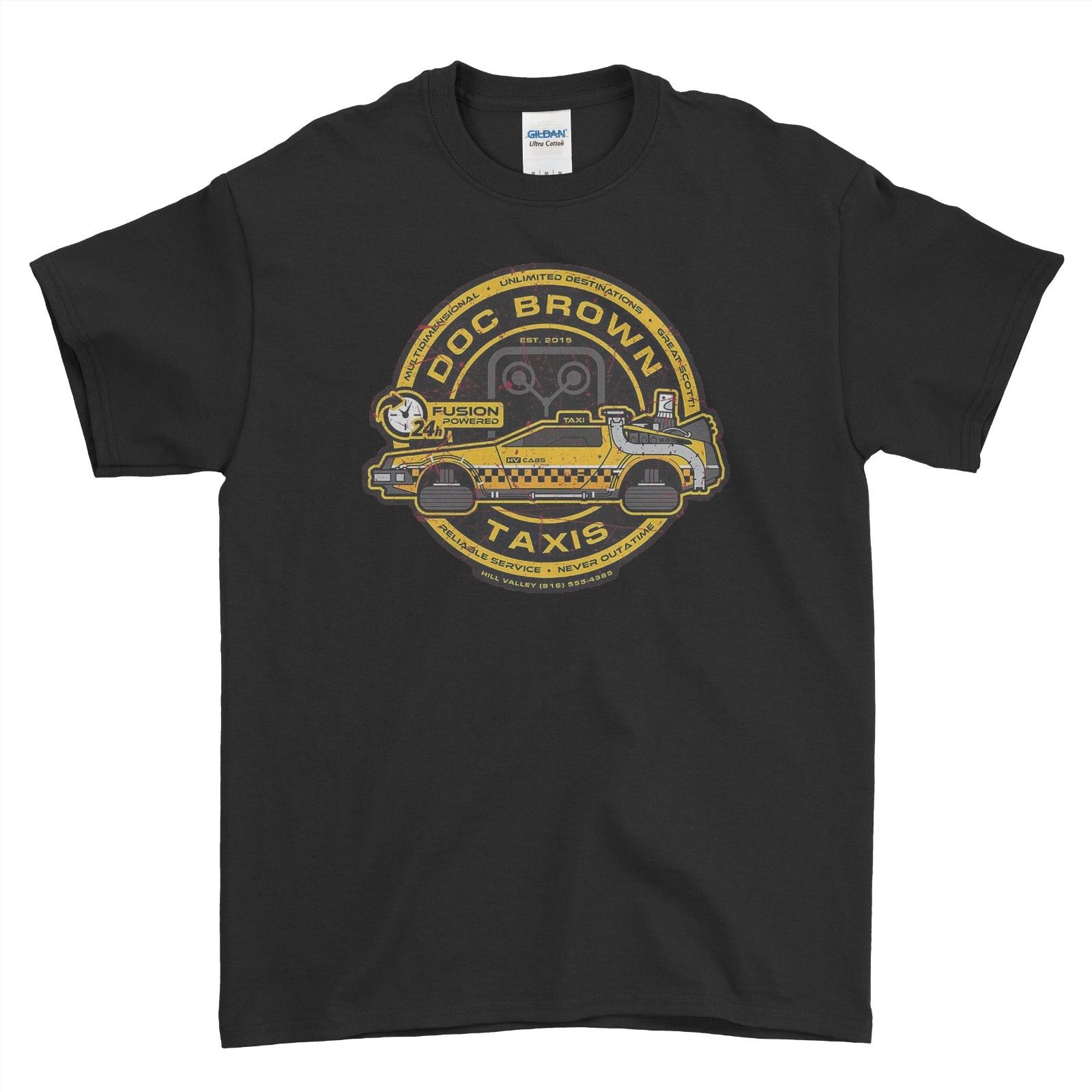 Back To <font><b>The</b></font> Future Film <font><b>Cult</b></font> Dr Emmett Brown DeLorean New Men T Shirt <font><b>Tshirt</b></font> Tee Free Shipping Summer Fashion image