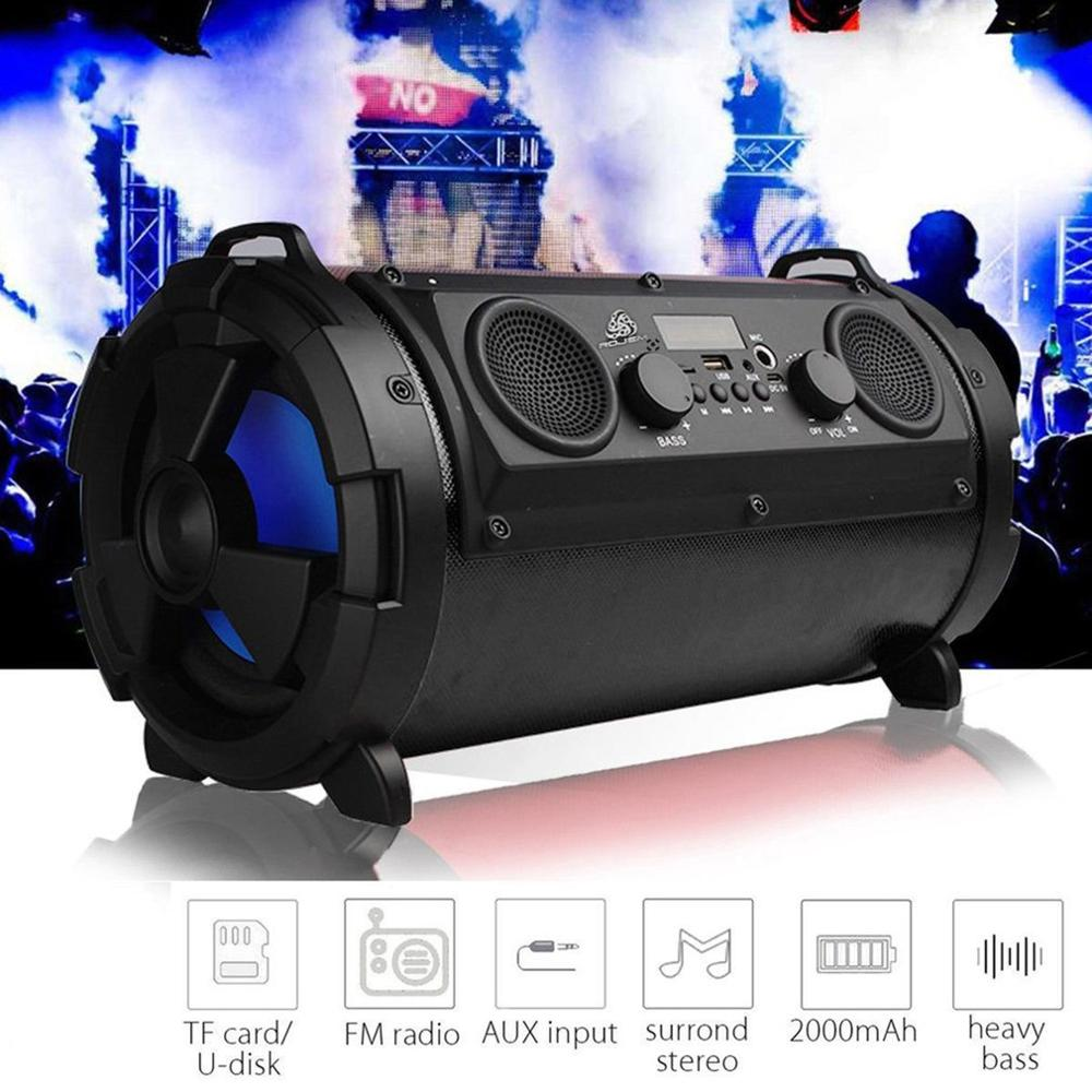 Subwoofer Music-Player Fm-Transmitter Tf-Card Stereo Wireless-Speaker Super-Bass Portable title=