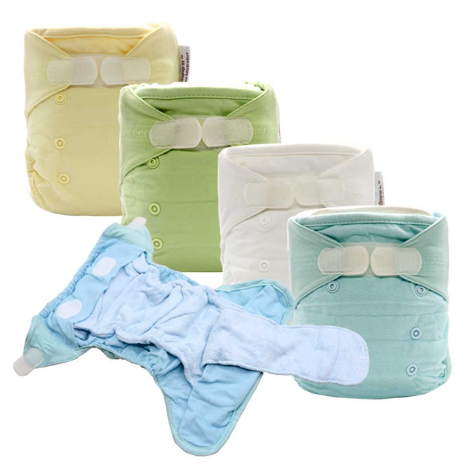 Cloth Diapers Baby Cloth DiaperCover Washable Reusable Nappies AI2 Nappy With Bamboo Cotton Insert Prefold Diaper All In Two