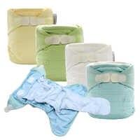 Couches lavables en tissu pour bébé couches lavables réutilisables couches AI2 Nappy avec Insert en coton de bambou couches prépliées tout en deux