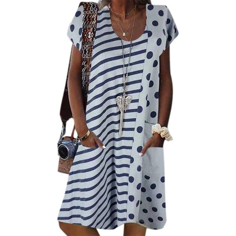 Vicabo Dot w paski sukienka z nadrukiem O szyi szata kobieta sukienki lato modny, z kieszeniami sukienki w dużych rozmiarach 2020