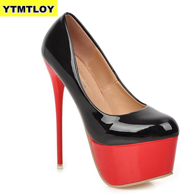 <font><b>17CM</b></font> New Spring Woman Pumps Shoes <font><b>Sexy</b></font> Extreme <font><b>High</b></font> <font><b>Heels</b></font> Wedding Party Size 35-42 Platform <font><b>Heels</b></font> Color matching Red Ladies image