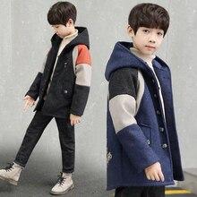 Зимние куртки двубортный шерстяной плащ для маленьких мальчиков в стиле пэчворк верхняя одежда с отворотом для детей от 4 до 14 лет, пальто для мальчиков, ветровка