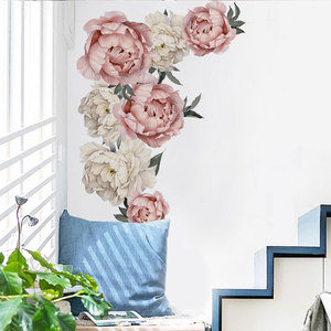 Image 5 - 71.5x102cm Large Pink Peony Flower Wall Stickers Romantic Flowers Home Decor for Bedroom Living Room DIY Vinyl Wall Decals