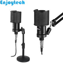 New Live Streaming Condenser Microphone with Mounts Holder Stands for Video Bloggers MIC Computer Audio Recording