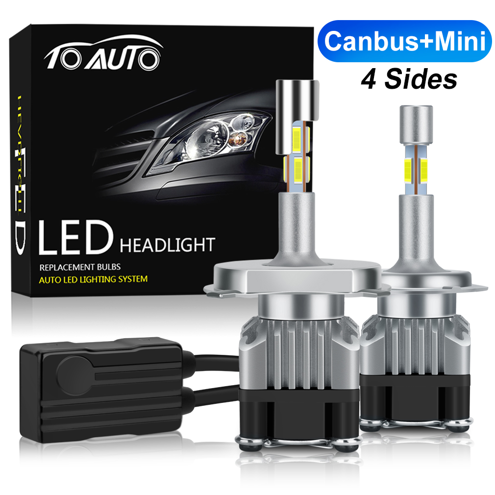 Canbus Mini 4 Sides LED H1 H4 H7 H11 HB4 9006 HB3 9005 LED Car Lights Auto Headlight Bulbs 6000K 12V Head Lamp