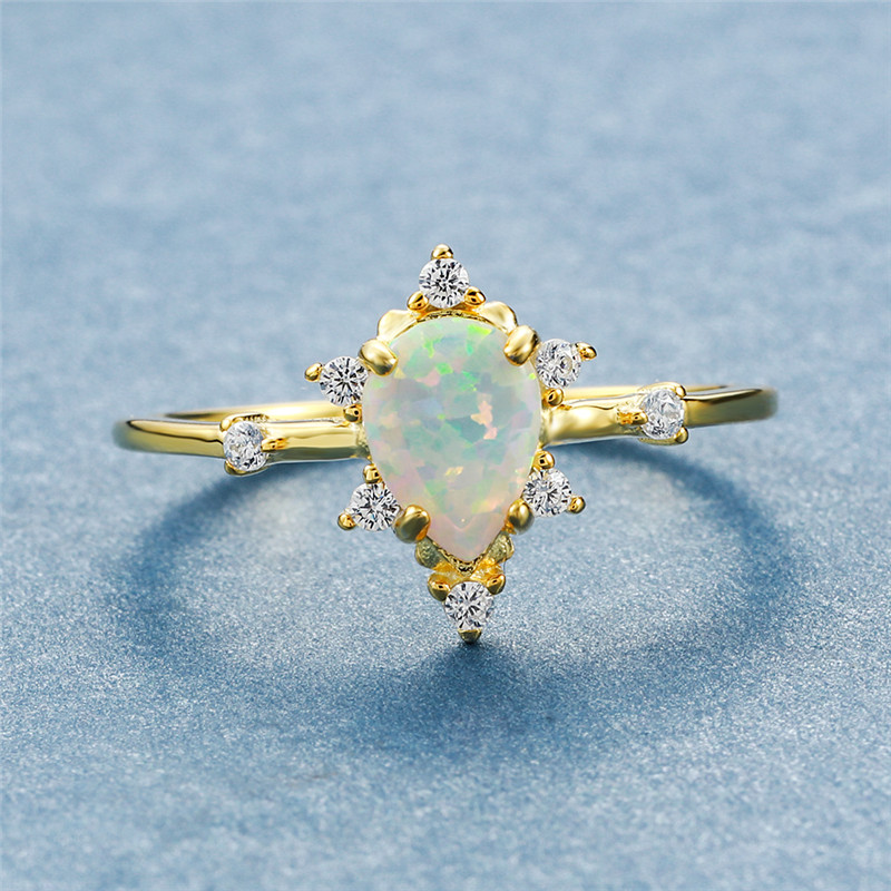 Cute Female White Fire Opal Ring Minimalist Silver Yellow Gold Water Drop Engagement Ring Promise Love Wedding Rings For Women