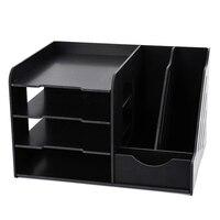 Schwarz Multi Funktions PVC Schreibtisch Organizer DIY Stift Halter Box Desktop Schreibwaren Einfache Montage Hause Büro Liefern Lagerung Rack auf