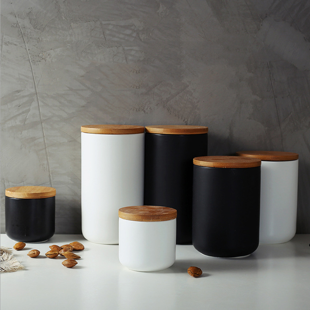 260ML 800ML 1000ML Ceramic Storage Tank Sealed Coffee Storage Bottle with Wood Lid Spice Jar Container Tea Pot Grain Organizer