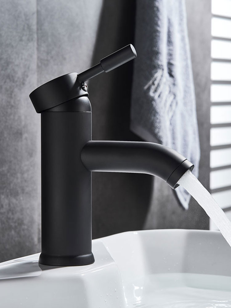 Black Faucet Tap Bathroom Basin Cold-Mixer Stainless-Steel Single-Hole Hot