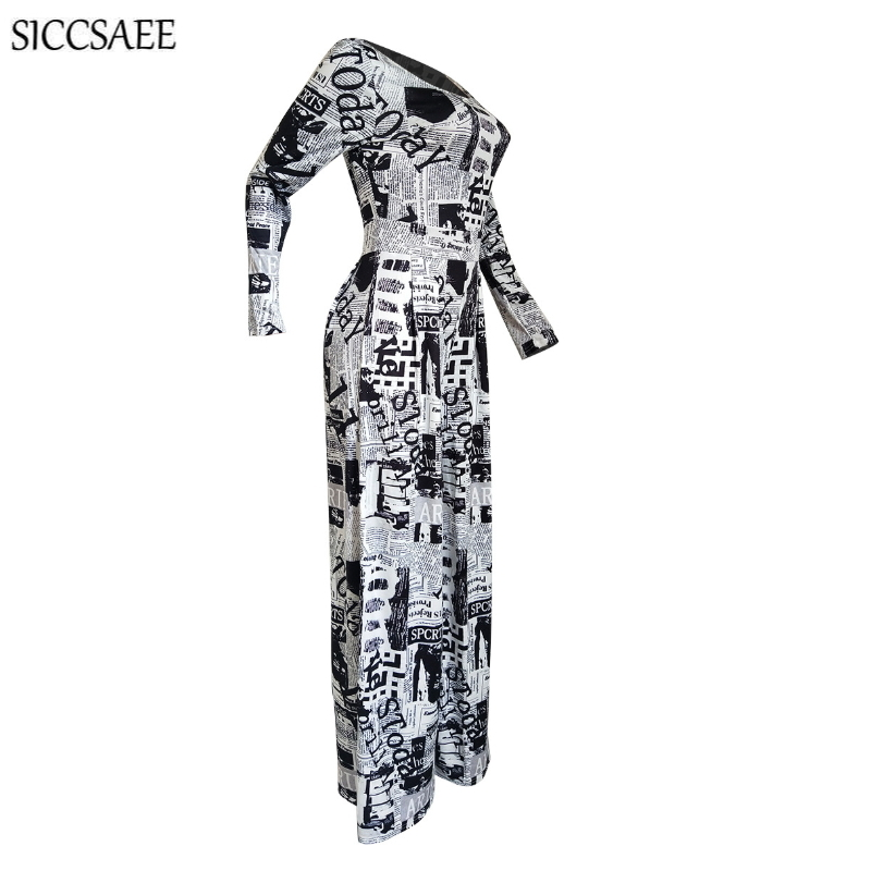 2019 Fall Old Newspapers Letter Printed Rompers Womens Jumpsuit Wide Leg Pants Loose Sexy Overalls Macacao Feminino Bodysuit