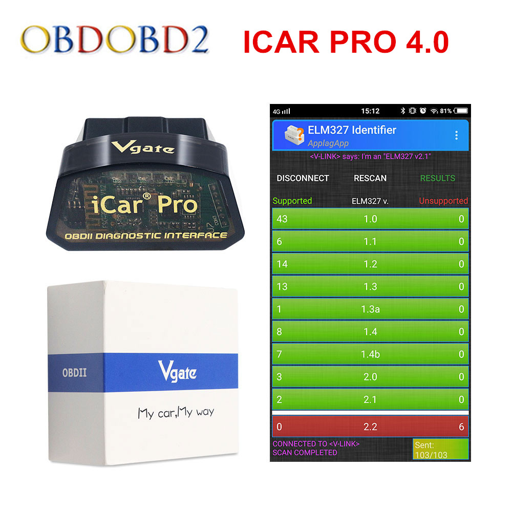 Vgate ICar Pro Bluetooth 4.0/WIFI OBD2 Scanner For Android/IOS Auto Elm 327 OBDII Car Diagnostic Tool ELM327 V2.1