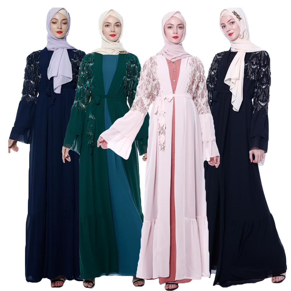 Paillettes gland femmes musulman ouvert Cardigan islamique Abaya caftan Kimono prière dame Maxi Robe Dubai Jilbab Ramadan Service de culte