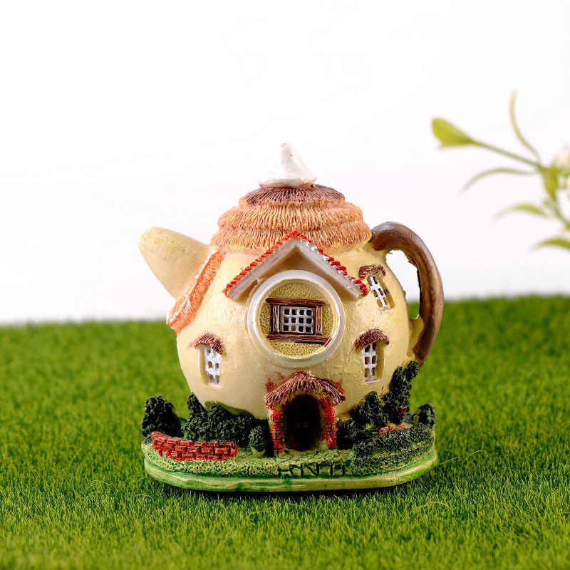 Teapot House Miniature Fairy Garden Miniaturas Micro Moss Landscape Diy Terrarium Accessories Figurines for Home Decor