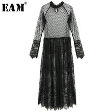 [EAM] Women Dress New Stand Collar Long Sleeve Black Lace Split Joint Perspective Loose Fit Fashion Spring Autumn 2019 A0046(China)