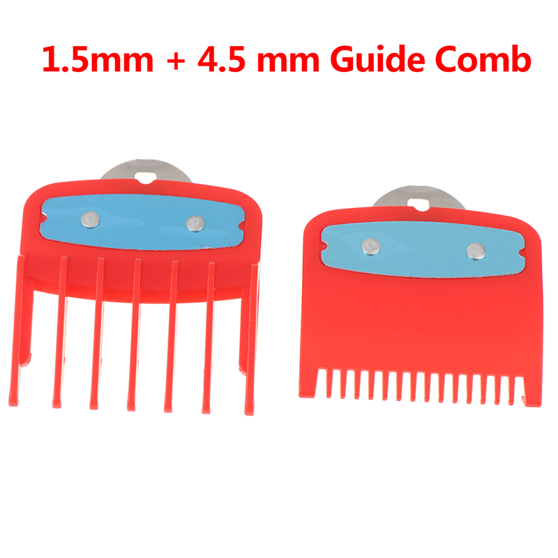 2Pcs(1.5mm+4.5mm) Guide Comb Sets 1.5 And 4.5 Mm Size Red Color Attachment Comb Set For Professional Clipper