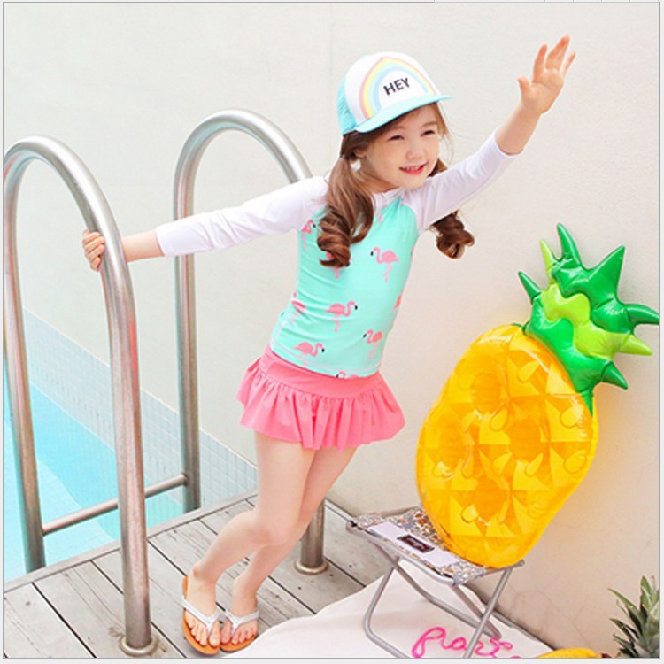 2019 New Style Korean-style Swimwear Children Two-piece Swimsuits Flamingo Baby Princess Dress Girls Swimming Suit