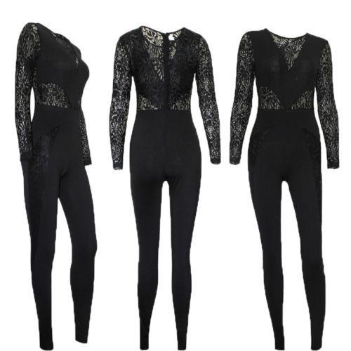 Hirigin Fasion المرأة كم طويل الجوف خارج بذلة Bodycon Clubwear طويل السراويل S-XL 4