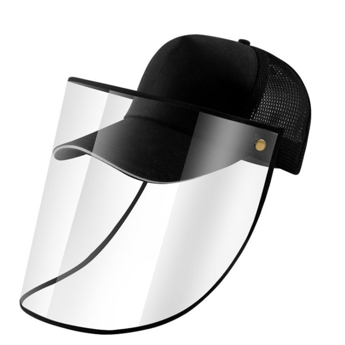 Anti-spray Mask Detachable Face Shield Protective Peaked Cap Solid Color Eye Protection Baseball Hat