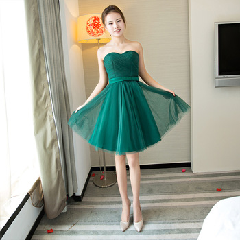 2019 New Dark Green Real Photo Short Bridesmaid Dress Sexy Strapless Lace Up Fashion Slim Cheap Party Gown Custom Made Dress