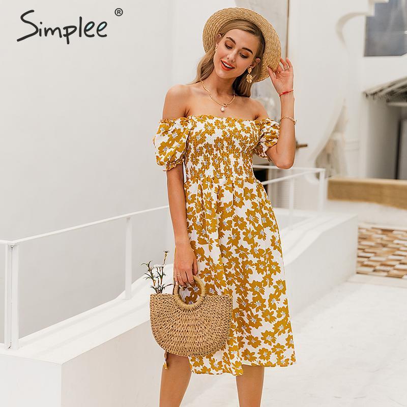 Simplee Flower Women Boho Dress Spring Puff Sleeve High Waist Female Summer Dress Ladies Chic Ruffled A-line Holiday Midi Dress