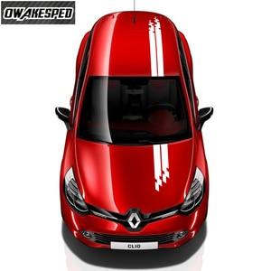 Image 1 - Vinyl Aufkleber Für Renault Twingo Clio Racing Sport Styling Streifen Auto Haube Schwanz Decor Aufkleber Auto Körper Angepasst Aufkleber