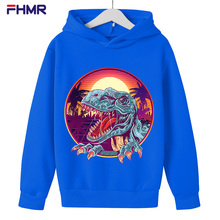 cute cartoon Fashion girl Sweatshirt Casual Print Korean Style Long Sleeve Dinosaur Oversized hoodies Sweatshirt Top boy clothes