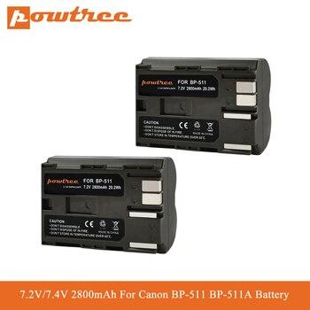 Powtree 2800mAh BP-511 סוללה BP-511A BP511 עבור Canon G6 G5 G3 G2 G1 EOS 300D 50D 40D 30D 20D 5D MV300i דיגיטלי מצלמה L70