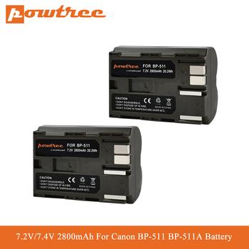 Powtree 2800mAh BP-511 baterii BP-511A BP511 dla Canon G6 G5 G3 G2 G1 EOS 300D 50D 40D 30D 20D 5D MV300i aparat cyfrowy L70 tanie i dobre opinie Kamera CN (pochodzenie) Standardowa bateria CE RoHS SGS UL BP-511 BP-511A BP511 BP511 Rechargeable camera battery For Canon camera