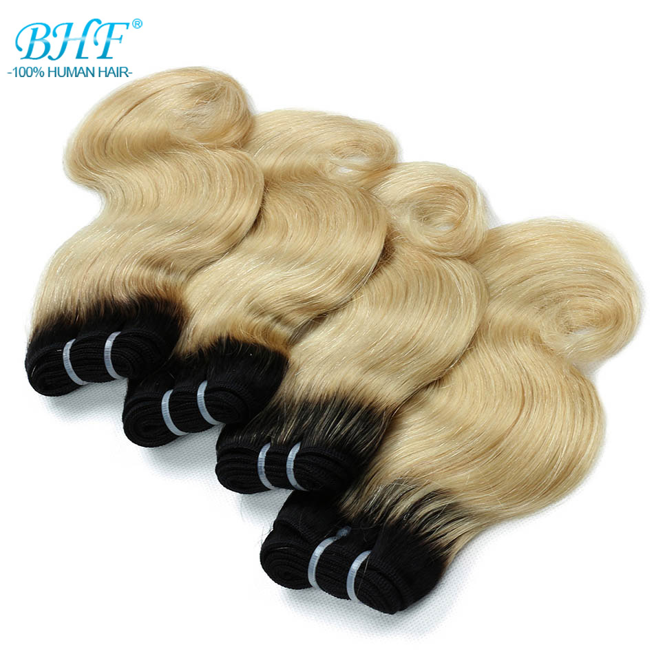 BHF Ombre Brazilian Body Wave Human Hair Bundles 50g/pc 1B/27 & 1B/613 Purple Pink Blue Green Non-Remy Hair Extensions 8 Inch