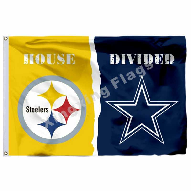 Pittsburgh Steelers Dallas Cowboys Haus Unterteilt Flagge 3ft X 5ft Polyester Team Banner Fliegen No.4 Größe 4 90X150cm Cus