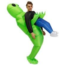 Зеленый Инопланетянин, несущий человеческий костюм, надувной Забавный костюм, косплей, вечерние AIC88