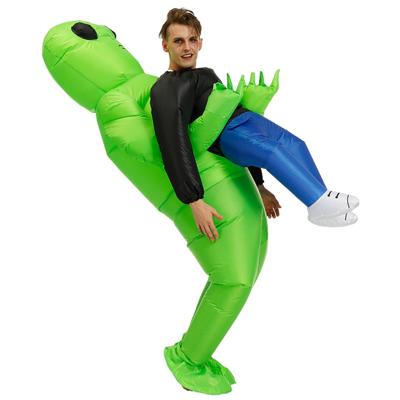 Green Alien Carrying Human Costume Inflatable Funny Blow Up Suit Cosplay For Party AIC88