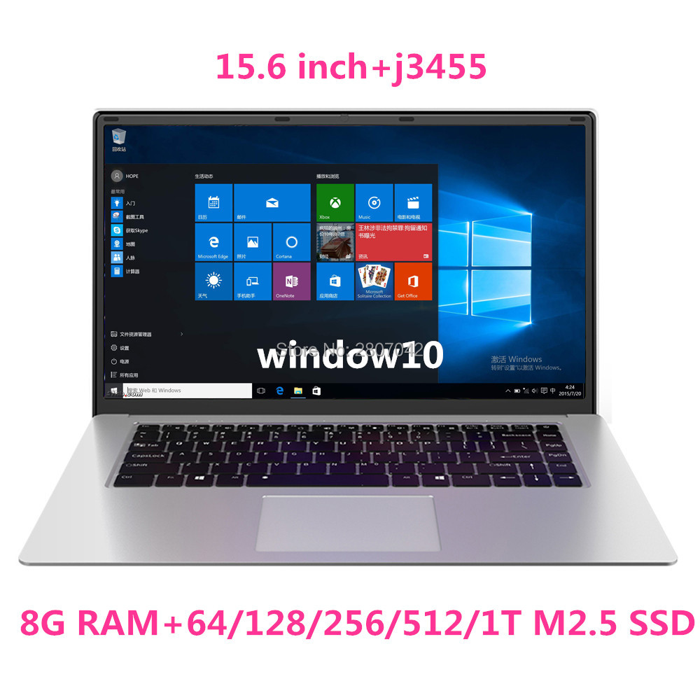 15.6 Inch Laptop 8G RAM 1TB 512G 256G 128G 64G SSD Gaming Laptops Ultrabook Intel J3455 Quad Core Notebook Computer Netbook