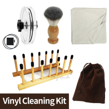 4 in 1 Vinyl Cleaning Kit LP Vinyl Record Cleaner Clamp /Water Cleaning Brush /Soft Cleaning Cloth/Vinyl Drying Rack