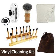 4 in 1 vinil temizlik seti LP vinil kayıt temizleyici kelepçesi/su temizleme fırçası/yumuşak temizlik bezi/vinil kurutma rafı