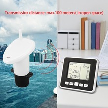 مستشعر مستوى عمق السائل لخزان المياه اللاسلكي بالموجات فوق الصوتية مع شاشة عرض درجة الحرارة مع شاشة عرض LED 3.3 بوصة