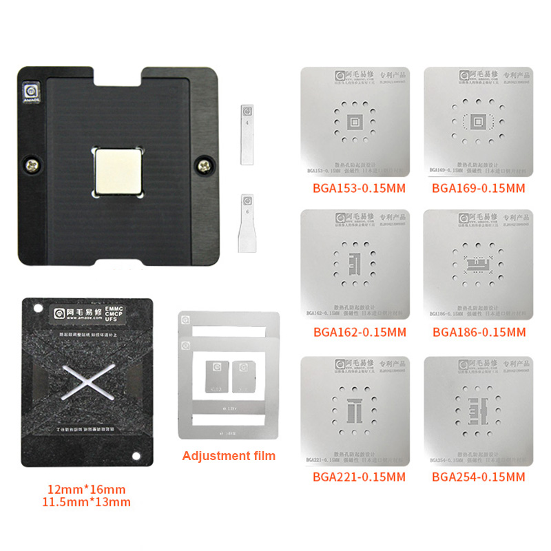 Universal EMMC EMCP UFS Reballing Jig Platform With BGA153 BGA162 BGA169 BGA186 BGA221 BGA254 BGA Reballing Stencil Kit 0.15MM